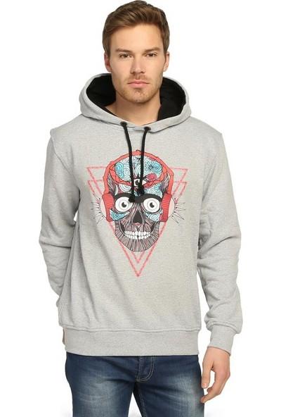Bant Giyim Stereo Skull Gri Kapüşonlu Erkek Sweatshirt Hoodie