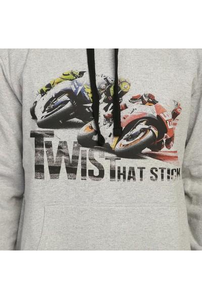Bant Giyim Motorsiklet Racing Gri Kapüşonlu Erkek Sweatshirt
