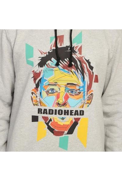 Bant Giyim Radiohead Gri Kapüşonlu Erkek Sweatshirt Hoodie