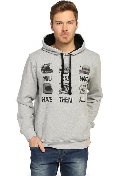 Bant Giyim Motorsiklet Kasklar Gri Kapüşonlu Erkek Sweatshirt