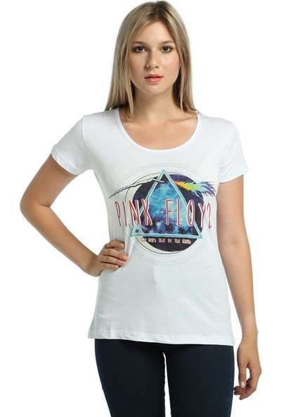 Bant Giyim Pink Floyd Beyaz Kadın T-Shirt