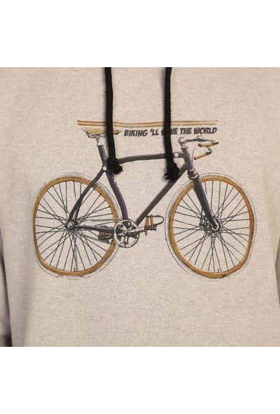 Bant Giyim Bisiklet Gri Kapüşonlu Erkek Sweatshirt Hoodie