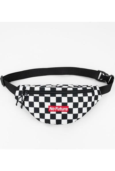 No Future Checkerboard Siyah-Beyaz Kareli Bel Çantası
