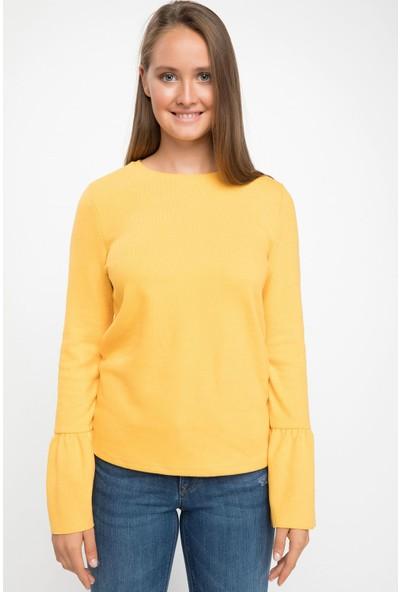 Defacto Kadın Volan Detaylı Uzun Kollu T-Shirt