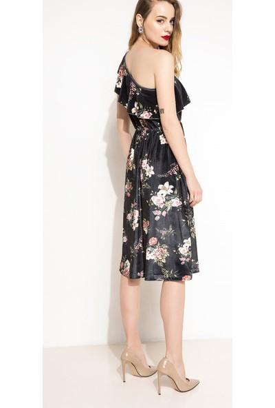 Defacto Kadın Tek Omuz Çiçek Desenli Elbise