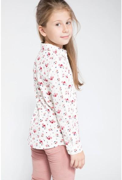 Defacto Kız Çocuk Floral Desenli Uzun Kollu Gömlek