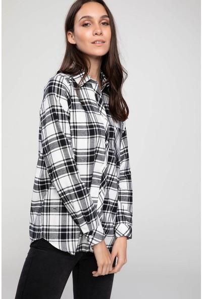 Defacto Kadın Cepli Ekose Gömlek