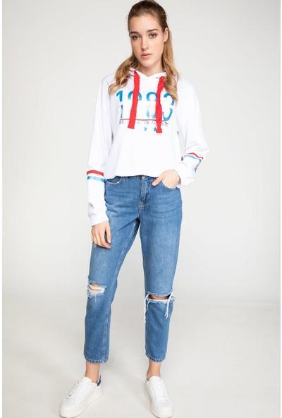 Defacto Kadın Kapşonlu Baskılı Sweatshirt