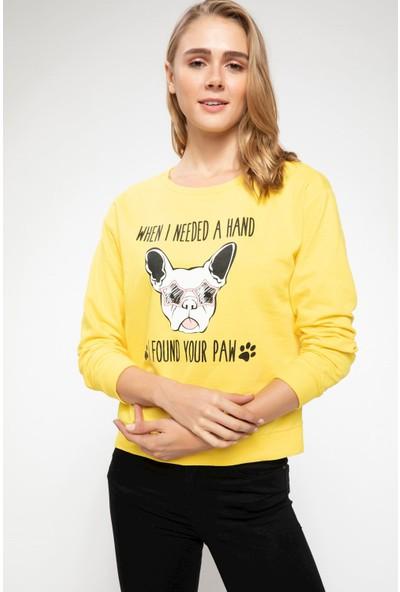Defacto Kadın Slogan Baskılı Sweatshirt