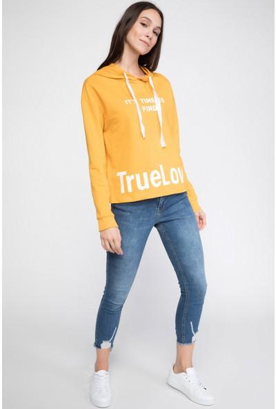 Defacto Kadın Kapşonlu Yazı Baskılı Sweatshirt