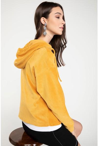 Defacto Kadın Kapşonlu Kanguru Cepli Sweatshirt