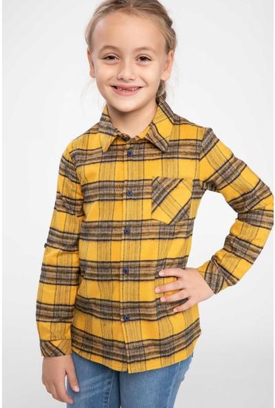 Defacto Kız Çocuk Kıvırma Kol Detaylı Tek Cepli Kareli Gömlek