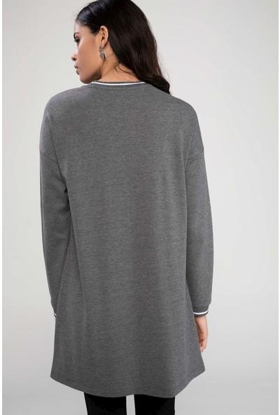 Defacto Kadın Yanları Şeritli Yırtmaç Detaylı Tunik