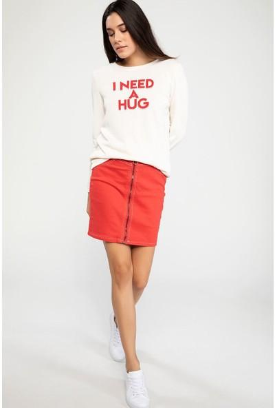 Defacto Kadın Uzun Kollu Baskılı T-Shirt