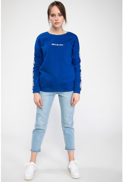 Defacto Kadın Şerit Detaylı Slogan Baskılı Relax Fit Sweatshirt