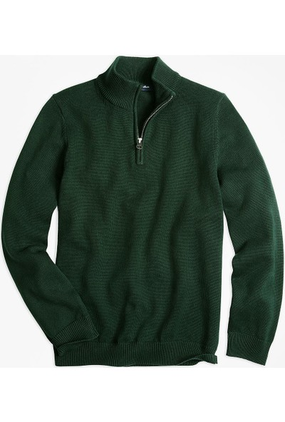 Brooks Brothers Erkek Çocuk Koyu Yeşil Fermuarli Sweatshirt