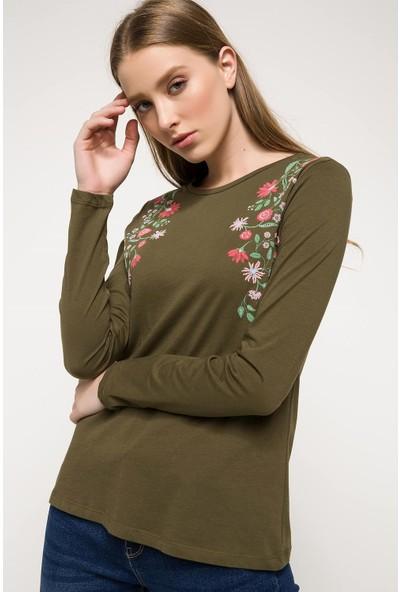 DeFacto Kadın Baskılı Uzun Kollu T-Shirt
