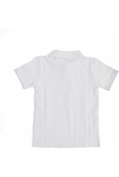 Alm Beyaz Kısa Kol 6-16 Yaş Çocuk Okul Lakos Tişört/T-Shirt - 80238-001