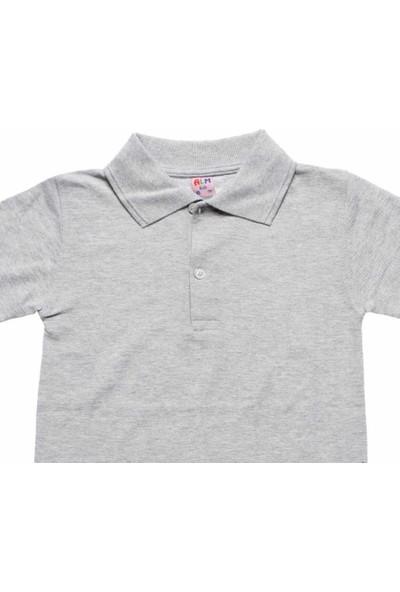 Alm Gri Kısa Kol 6-16 Yaş Çocuk Okul Lakos Tişört/T-Shirt - 80238-005