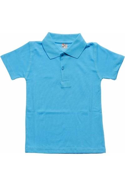 Alm Turkuaz Kısa Kol 6-16 Yaş Çocuk Okul Lakos Tişört/T-Shirt - 80238-011