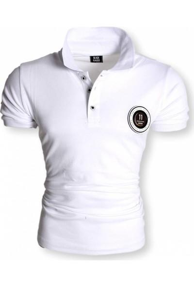 Black Kavier 856 Slim Fit Polo Yaka Beyaz