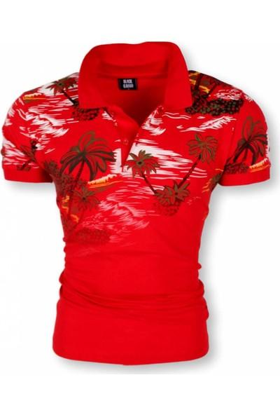 Black Kavier Miami Slim Fit Polo Yaka Kırmızı