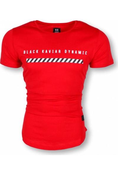 Black Kavier Dynamic Slim Fit Likralı T-Shirt Kırmızı