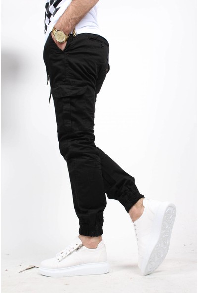 Oksit Beli Ve Paçası Lastikli Kargo Cep Pantolon Siyah