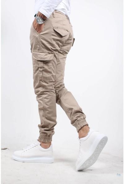 Oksit Beli Ve Paçası Lastikli Kargo Cep Pantolon Taş