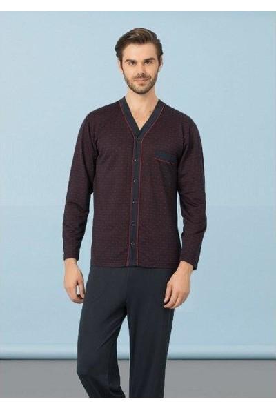 Kly 3140 V Yaka Düğmeli Erkek Pijama Takımı