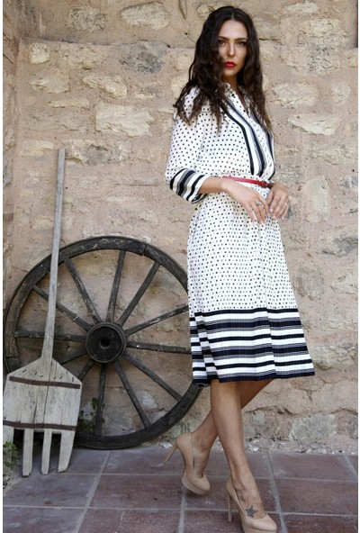 Lafaba Beyaz Çizgi Ve Puantiye Desenli Kadın Elbise