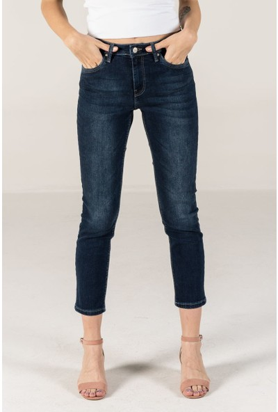 Vena Carey Tomboy Dark Blue Basic Denim Pantolon
