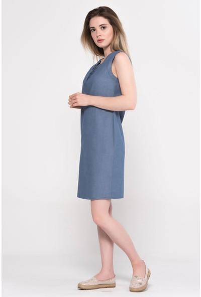 Vena Keira Med Blue Denim Elbise