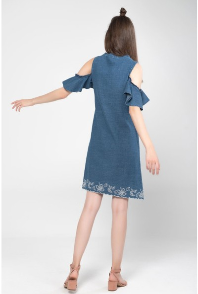 Vena Lupita Med Blue Nakişli Elbise