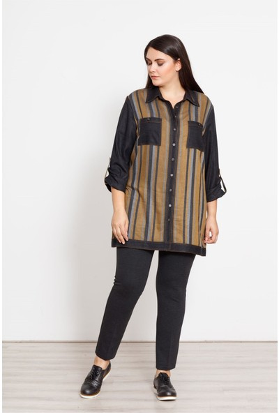 Moda İlgi Çizgili Tunik Safran