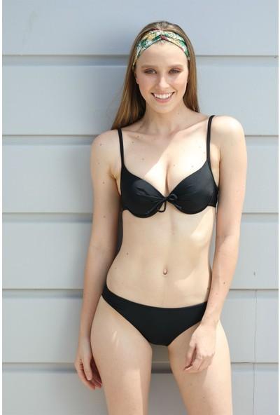 Spenza Swimwear İp Detaylı Siyah Bikini Takımı