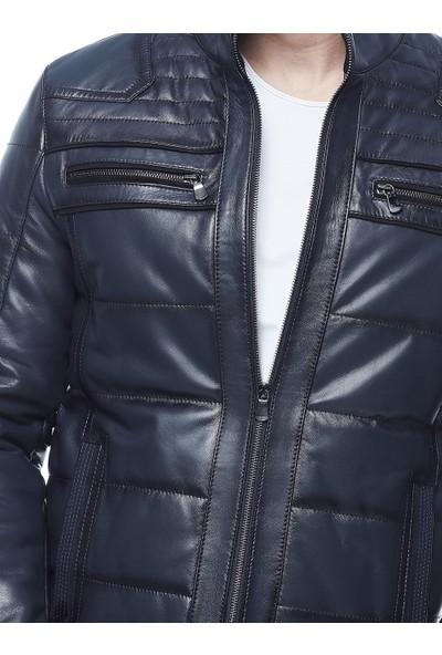 Deriza Andino Lacivert Boyama Deri Ceket