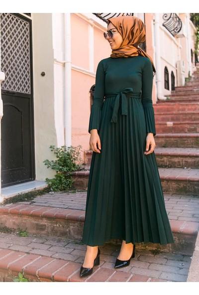 İnşirah Piliseli Elbise - Zümrüt