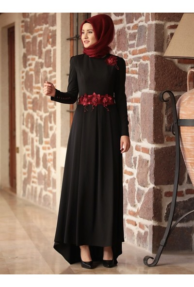 Amine Hüma Kuyruklu Selen Abiye Elbise - Siyah