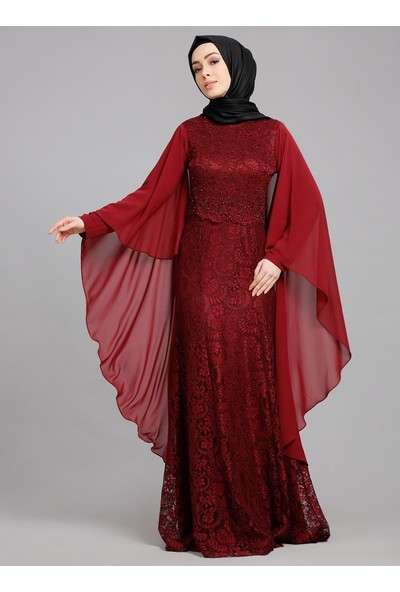 Refka Dantelli Abiye Elbise - Bordo