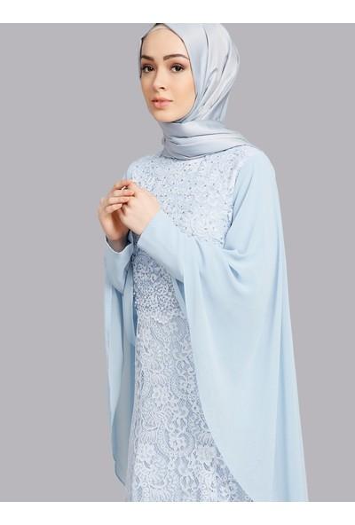 Refka Dantelli Abiye Elbise - Buz Mavisi