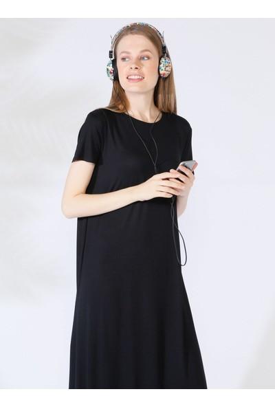 Everyday Basic 135 cm Doğal Kumaştan Kısa Kollu Elbise - Siyah