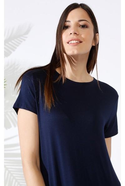 Everyday Basic 135 cm Doğal Kumaştan Kısa Kollu Elbise - Lacivert