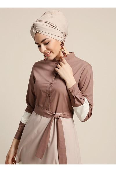 Refka Düğme Detaylı Kuşaklı Elbise - Kahve