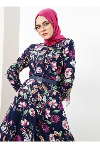 Refka Doğal Kumaştan Boydan Düğmeli Elbise - Lacivert