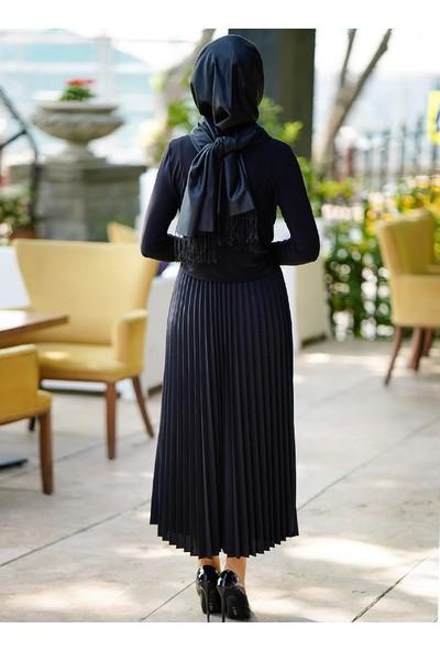 İnşirah Piliseli Etek - Siyah