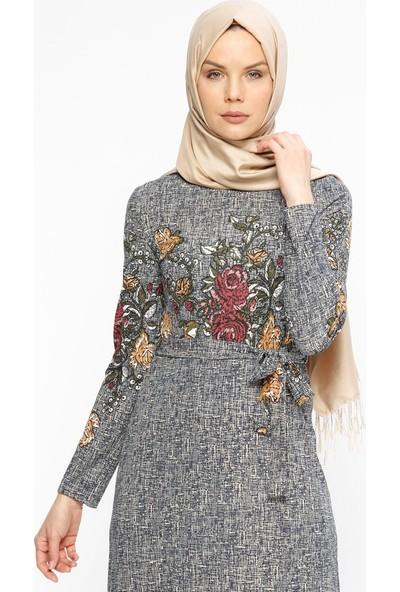 Zenane Desenli Elbise - Lacivert