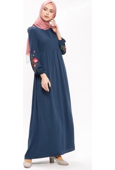 Tuncay Nakış Detaylı Elbise - Lacivert