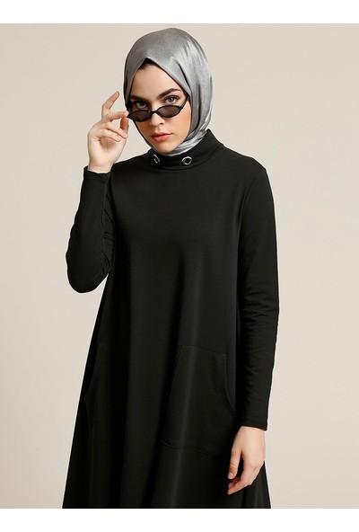 Refka Kuş Gözü Detaylı Cepli Elbise - Siyah