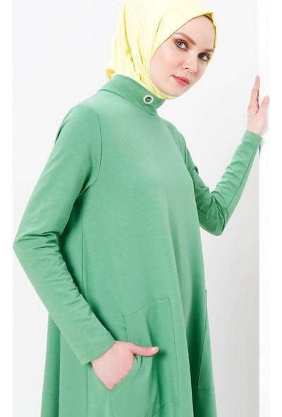 Refka Kuş Gözü Detaylı Cepli Elbise - Açık Yeşil